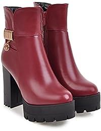 Qin&X Señaló la Mujer Bloque Toe Heel Tacones Botines Zapatos con Plataforma