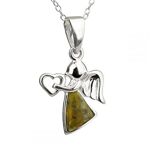 Irischer Engel mit Herz - Kette aus Sterling Silber & Connemara Marmor