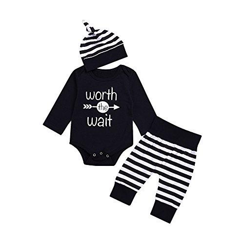 Baby Kleidung Set, 3pcs Baby Neugeborenes Mädchen Jungen Kleidung Lange Ärmel Strampler Overall + Hosen +Hut Outfits Spielanzug Set 2019 Xinantime