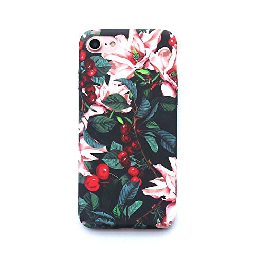 YALTOL Für iPhone XS/X,7/8,7/8plus,6/6s,6/6splus Personality Creative Fashion Cherry Tree Floral Matte Hard Shell Mobile Phone Drop Protection Sleeve,XS/X