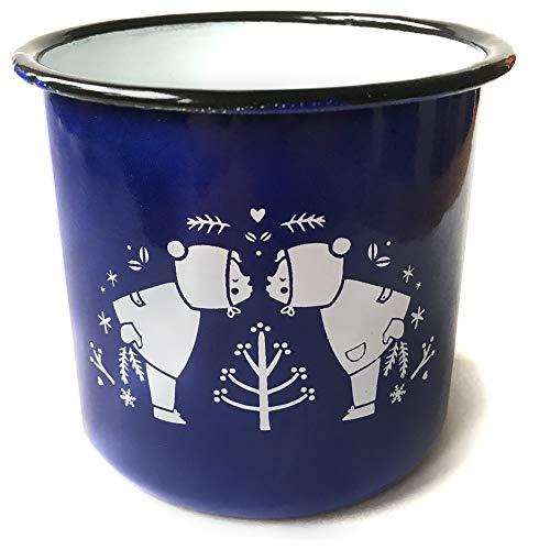 inder und Erwachsene | Design Winterkinder | 350 ml | blau weiß | Kindertasse Kinder | Retro Illustration | auch als Kaffeetasse, Campingtasse & Glühweintasse ()