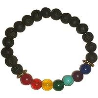 IndianStore4All 100% 8mm Edelstein & Lava Stein Perlen Chakra Armband, Yoga Armband Buddhistisches Armband preisvergleich bei billige-tabletten.eu