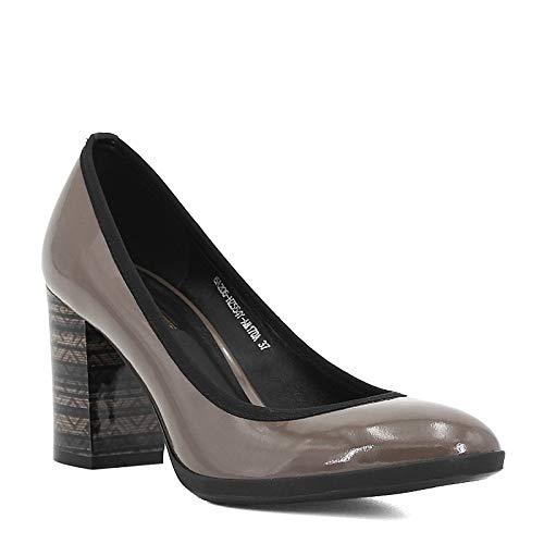 TXHLKD Elegantes echtes Leder Pumps Damen High Heels Pumps Feste runde Form Office Lady Classic Schuhe D01 6.5 Schwarzes Schaffell Leopard High Heel Pumps Patent