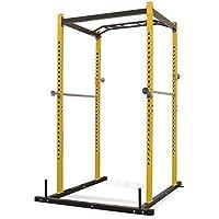 Festnight- Jaula de Musculación en Casa 140x145x214 cm Amarillo y Negro