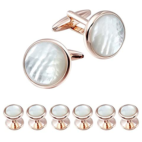 HAWSON Exquisite Mother of Pearl Cuff Links Shirt Studs Set Rose Gold and Gold (Rose Gold 2+6)