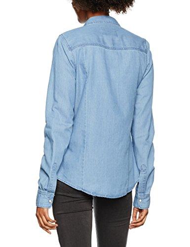 Vero Moda Vmdaisy Denim Shirt Lt Blue Ns, Chemise Femme Bleu (light Blue Denim)