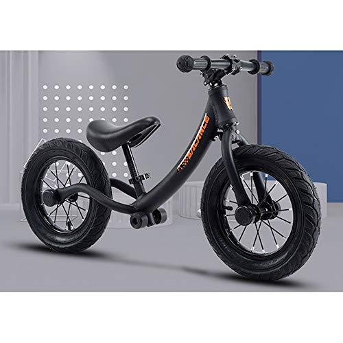 LINBAI Bici per Bambini a Due Ruote Auto per Bambini 12 Pollici Bici per Bambini 2-6 Anni Bambino a Due Ruote per Veicoli a Spinta Manuale,Black
