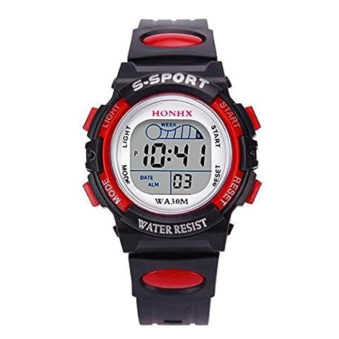 Enfants Sports Montre, Reaso Garçons étanche Watch Alarm Date Numérique LED Enfants Montre Cadeau