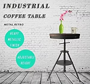 Adjustable Height Swivel Round Wood Bar Bistro Table, Wooden Top with Sturdy Metal Frame Pub Table Heavy Duty Dining Cocktail Table Retro Finish