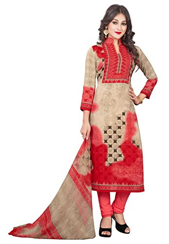 Salwar Studio Women's Red & Beige Synthetic Floral, Polka Dots Printed Dress Material with Dupatta  available at amazon for Rs.495