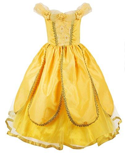JerrisApparel Belle Kleider Kostüm Party Schick Ankleiden für Prinzessin Mädchen (Gelb 1, 6 Jahre)