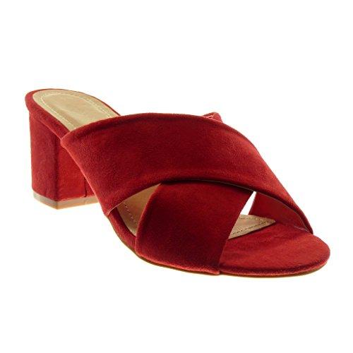 Angkorly - Damen Schuhe Sandalen Mule - Slip-On - String Tanga Blockabsatz high Heel 7 cm - Rot 88-259 T 40