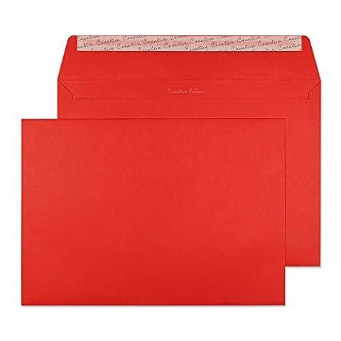 Creative Colour 406 Wertbriefumschlag, Haftklebung mit Abziehstreifen, 120 g/m², C4, 250-er Pack, briefkastenrot