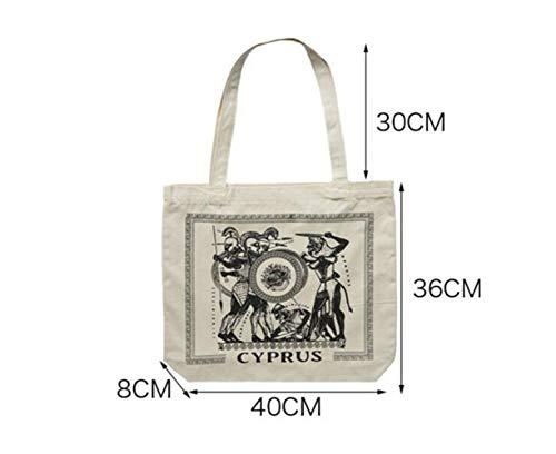 Heelinna Tragetasche Weibliche Leinwand Griechenland Zypern Umhängetasche hohe Kapazität Licht Datei Shopping Travel Handtasche (Beige)