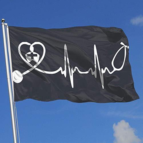 Squirm Factory Grafik Outdoor/Indoor Demonstration Flagge Krankenschwester Stethoskop Herzschlag 100% Polyester Single Layer Translucent Flags 3 X 5 -
