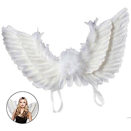 Kostüm Für Engelsflügel Erwachsene - everso Flügel Kostüm Erwachsene Engelsflügel Feder Halloween Karneval Kostüm 55x40cm Weiß