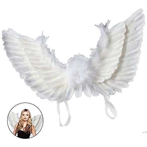 everso Flügel Kostüm Erwachsene Engelsflügel Feder Halloween Karneval Kostüm 55x40cm Weiß