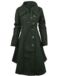 YOSICIL Femme Manteau Laine Parkas Trench-Coat Capuche Veste Épaise Manches  Longues avec Ourlet Asymétrique 7ec87ebc9c5