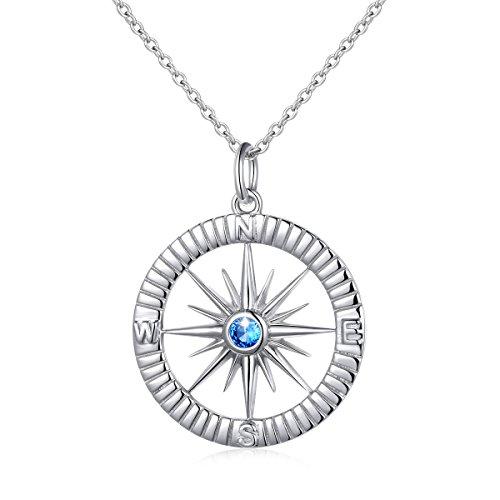 (DAOCHONG S925 Sterling Silber Egal wo Kompass Anhänger Halskette, 18