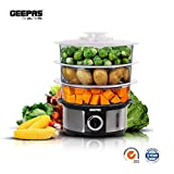 Geepas 1000W Electric Food Steamers 3 Tier for General Use, 12L Capacity, Stainless
