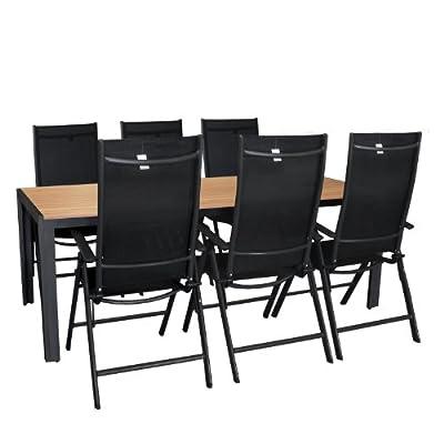 7tlg. Gartengarnitur Aluminium 7-Positionen Hochlehner Polywood Gartentisch Sitzgruppe 205x90cm Terrassenmöbel Schwarz / Natur