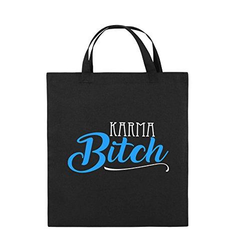 Comedy Bags - KARMA BITCH - Jutebeutel - kurze Henkel - 38x42cm - Farbe: Schwarz / Weiss-Neongrün Schwarz / Weiss-Hellblau