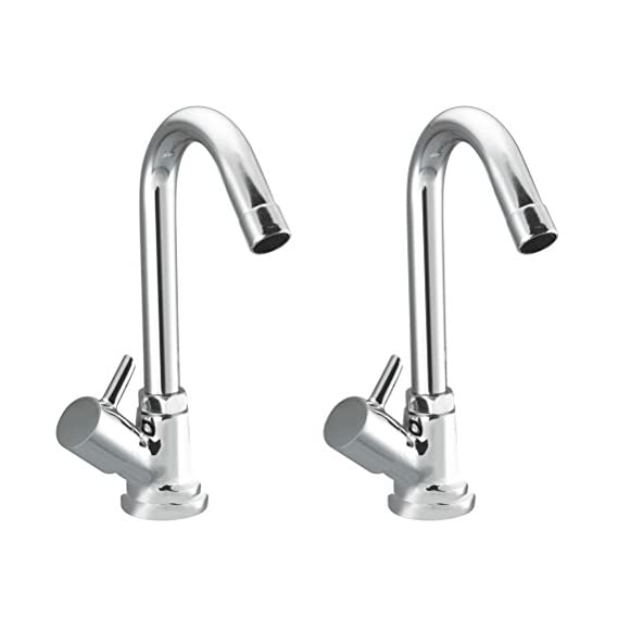 Drizzle Swan Neck Pillar Cock Flora Brass Chrome Plated/Wash Basin Tap / 360 Degree Moving Spout Tap/Bathroom Tap/Quarter Turn Tap/Water Foam Flow Tap - Set of 2