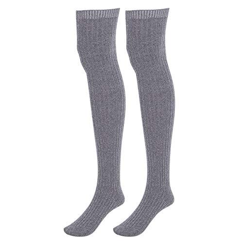 Vpuquuz Frauen Overknee Knee High Socks Damen Kniestrümpfe Mädchen Warme Beinlinge Stricken Socken Oberschenkel Leggings Baumwoll Strümpfe Lange Hoch über Socken (Dunkelgrau)