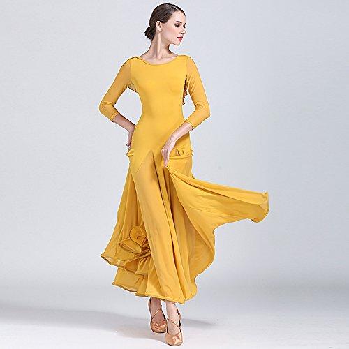 Grossen Pendel Kleid Ballroom Dance Dress Kostüm Modern Dance Tanzwettbewerb Leistung Kostüm,Yellow,M (Rumba Frau Kostüm)