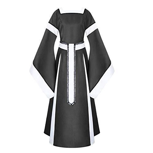 Vovotrade ♧ abito colletto quadrato medievale, gonna a maniche lunghe con maniche a tromba in pizzo patchwork casual da donna