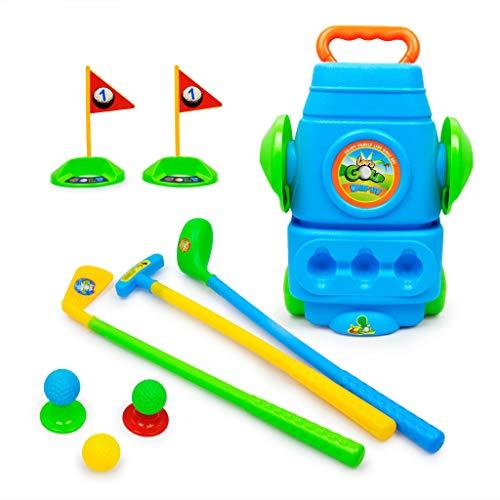 Webla Spiel Indoor Golf Plastikspielzeug für Kinder Outdoor Sports Kombination Sport Sport Oets Spaß Junger Golfspieler Für Jungen Mädchen Fördert Körperliche Fitness und Mental Blue