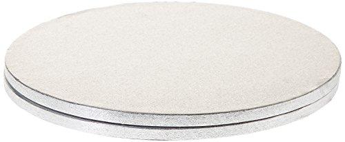 Dekorieren Cakeboard rund in gepresst Karton Hard Pure Zellstoff, 33cm Durchmesser, silber, Set of 2