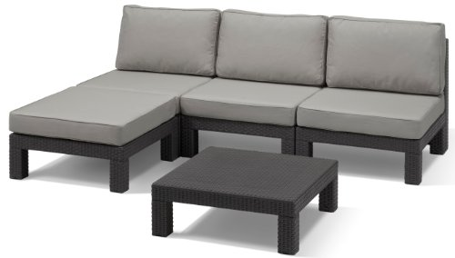 Allibert Lounge Set Garten, Nevada, 5-teiligess, Rattan Set, Balkonmöbel, grau