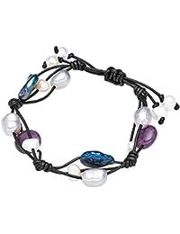 Valero Pearls - Bracelet en cuir véritable - Perles de culture d'eau douce - Cuir véritable - Bijoux de perles améthyste, bracelet améthyste, collier en cuir véritable, bijoux en cuir - 60020120
