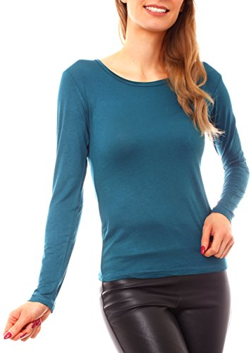 Easy Young Fashion Damen Basic Langarm Jersey T-Shirt Rundhals Ausschnitt Unterziehshirt Enganliegend Einfarbig S - 36 Petrol