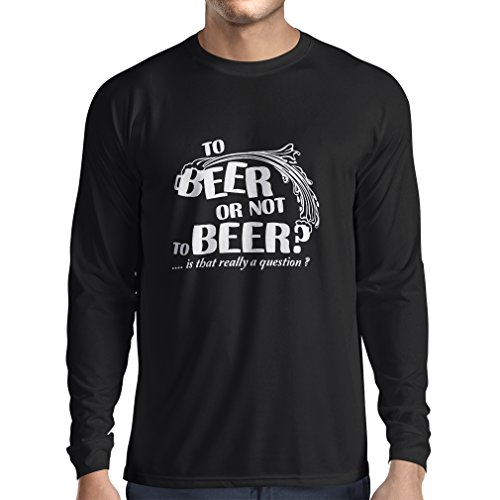 N4176L Zum Bier oder nicht zum Bier ... lustiges Geschenk, Langarm T-Shirt Schwarz Fluoreszierend