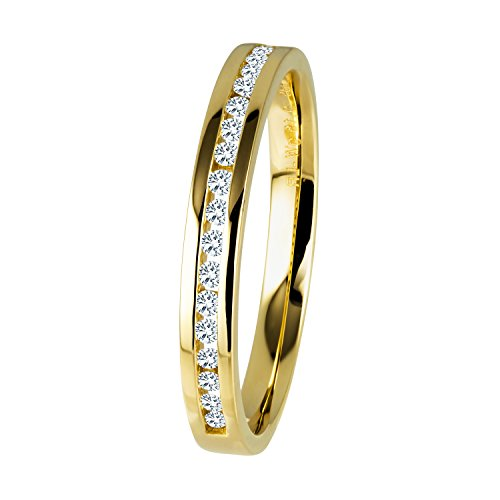 Diamond Line Diamant-Ring Damen 585 Gelbgold mit 19 Brillianten 0.15 ct. Lupenrein
