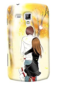 Fuson Cycling Love Couple Back Case Cover for SAMSUNG GALAXY S DUOS 2 S7582 - D4007