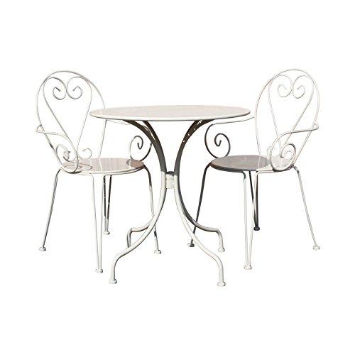 Bentley Garden - Bistro-Set für den Garten - Tisch & 2 Stühle mit Herz-Motiv - Stahl - Shabby Chic - Cremefarben oder Grau - Creme Bistro Creme
