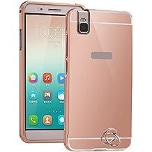 2 in 1 Espejo Funda para Huawei G7 Telefono - Yihya Ultra Delgado Carcasa Premium Aluminio Metal Bumper Phone Frame + Mirror PC Back Case Dura Cubierta Protección Cover Marco Tapa -Oro rosa(Rose Gold)
