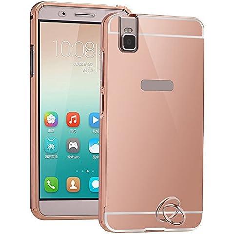 Oro Rosa Funda para Huawei Honor 6 Smartphone - Yihya Ultra Delgado 2 en 1 Parachoques del Metal Aluminio + PC Back Case Cover Espejo Efecto Trasera Protectora Carcasa Skin--Rose Gold