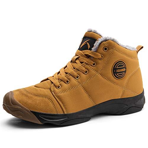 Axcone Winterschuhe Damen Herren Warm Gefüttert wasserdicht Winterschuhe Winter Outdoor Boots Wanderstiefel Stiefel Unisex - Braun 43EU