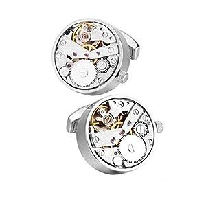 Charles William Fashion Uhrwerk Manschettenknöpfe funktionell Uhr und Uhrwerk Silber Hohe Qualität kann sehen, wie sich die Zahnräder und Räder drehen
