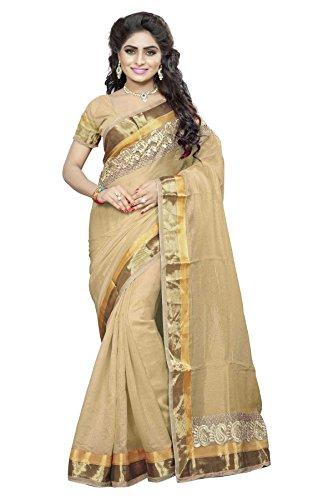 DivyaEmporio Women Cotton Silk Self Print With Blouse Piece Sarees(DE 2826 Khaki)
