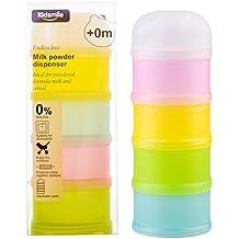 Dispensador de Formula, Kidsmile apilable On-the-Go BPA del dispensador de leche en polvo y almacenamiento de contenedores de aperitivos - no hay fugas en polvo