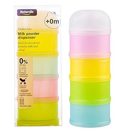 Formula Dispenser, Kidsmile Twist-Lock Stackable On-the-Go BPA Free Milk Powder Dispenser & Snack Storage Container - 4 feeds, no powder