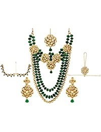 00d8c2421 Sri Shringarr Fashion Fancy Micro Gold Polished Semi Precious Kundan    Coloured Beads Necklace Set K1297ON