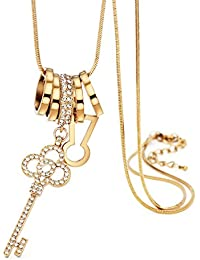 Young & Forever Mothers Day Gifts Romantica Key To My Heart 18k AAA CZ Gold Heart Key Long Chain Pendant Necklace...