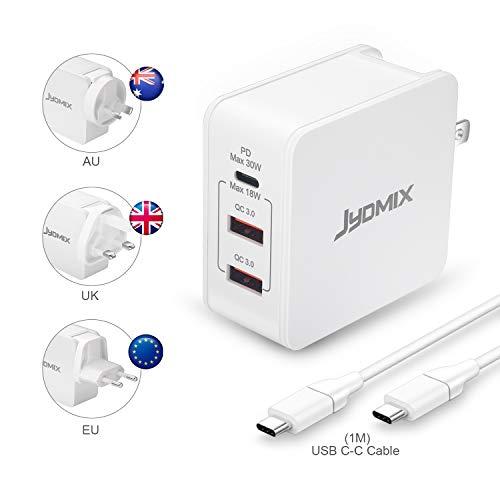 JYDMIX 30W USB C Ladegerät, 3-Port USB C Charger mit USB-C Power Delivery, Fast Charge USB QC3.0 Ttragbares Internationale Ladegeräte mit Austauschbaren Stecker