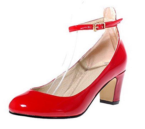 AgooLar Femme Pu Cuir Couleur Unie Boucle Rond à Talon Correct Chaussures Légeres Rouge